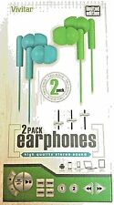 Vivitar Limited Edition High Quality Stereo Sound Earbuds New Blu/Grn 2 Pack