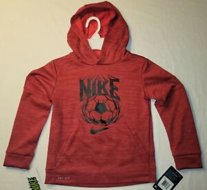 New Nike Therma Soccer Hoodie Sweatshirt Boys Youth Red FREE SHIPPING!