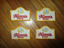 vtg NOS HAMM'S BEER 4 PATCHES LOT Sew On Delivery Guy Uniform Jacket Hat Yellow