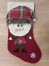 Christmas Stocking--Red Stuffed Elf Plaid Hat and Shirt NEW