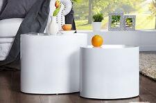 Oval Side Table White Coffee Furniture High Gloss Set Modern Design Living Room