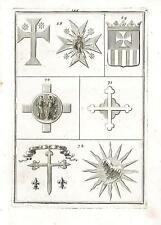 Incisione antica originale Croci del Cavaliere di Santa Maria Gloriosa 1711