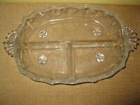 Vintage Fostoria Meadow Rose etched Divided Footed Relish Candy Dish glass
