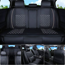 US Stock Car Seat Cover PU Leather 5Seats Rear+Front Cushion All Season Size L