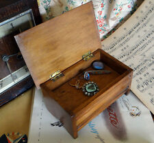 Vintage 1940's 50's Wooden Trinket Jewellery Music Box  Simple Plain  & Working
