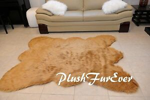 5'6'7' LARGE  Taupe Beige BEARSKIN Faux Fur Area Rugs Living Room Decors A53