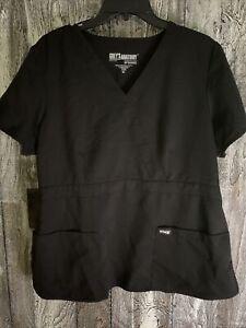 Womens Greys Anatomy By Barco Scrub Shirt Top XL Black RN# 50681