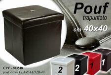 POUF CONTENITORE QUADRATO IMBOTTITO TRAPUNTATO COLORATO 40X40 CM CPV-603518