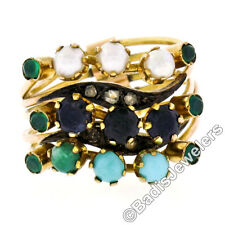 Antique Victorian 10K Gold Sapphire Pearl Turquoise Emerald Diamond Harem Ring