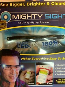 Mighty Sight Led Magnifying Eyewear Glasses with Rechargeable LED lights .
