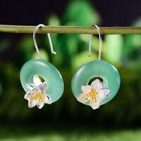 Natural Gem Stone Aventurine Lotus Flower Drop Earrings 925 Silver Women Jewelry