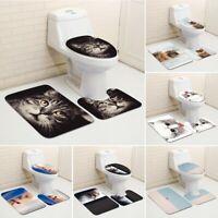 3Pcs Cat Bathroom Rug Set Bath Mat Contour Rug Soft Non Slip Toilet Lid Cover