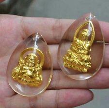 2pcs 999 Gold Crystal Luck Bless Circle Buddha & Kwan-yin Fashion Pendant