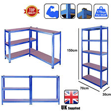 5 Tier Heavy Duty Boltless Metal Shelving Shelves Storage Shelf Garage Home Blue