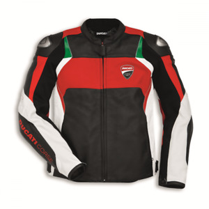 New Handmade Men's Ducati Corse C3 Style Red Leather Motorcycle Jacket