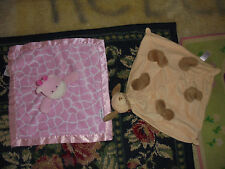 GUC set of 2 baby loveys Just one you angel dear hippo dog blankets animals