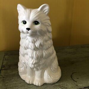 """Large Vintage Ceramic Cat Toilet Brush Holder Kitty 9.5"""" Green Eyes White"""