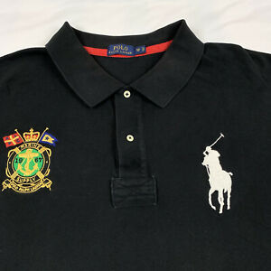 POLO Ralph Lauren Big Pony Marine Supply Cotton Short Sleeve Black Shirt 5XB