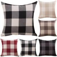 Plaid Check Cushion Cover Waist Throw Comft Cushions Pillow Case Sofa Home Decor