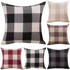 18'' Plaid Check Cushion Covers Square Pillow Case Square Sofa Waist Throw Decor