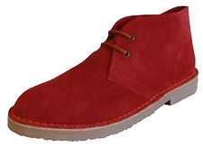 Red Retro 70s MOD Style Real Suede Desert Boots