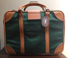Vintage Hartmann Wings Green Brown leather Duffle Soft Suitcase Luggage Rare