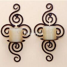 2Pcs Black Decorative Swirling Iron Hanging Wall Candle Holder Sconce Home Decor