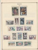 france 1963 stamps page mounted mint & used ref 17493