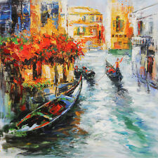 modern abstract Hand-Painted Venice original Oil Painting wall decor on canvas