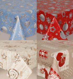 Christmas Reindeer Sparkle Silver Stars Wipe Clean Pvc Vinyl Table Cloth Plain