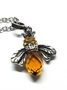 "Bee Pendant Amber Necklace Crown Amber Crystal Silver Plated 18"" Chain Boxed"