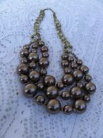 Vintage Multi Strand Bead Necklace Layered Tiered Graduated Brown Collar