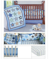 New 7 Piece Boy Baby Bedding Set Stars Nursery Quilt Bumper Sheet Crib Skirt