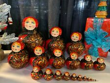 Russian Nesting Dolls Beautiful Flowers 20 pieces! Signed by Artist! Gift/ Colle