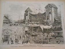 Gravure 1883 - Exposition internationale d' Amsterdam