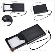 Slide-Out Pocket Magnifier Illuminated Magnifying Lens 4X Power LED Lighted