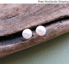 White Pearl Gold Stud Earrings. Freshwater Pearl Studs. Small Pearl Earrings AA