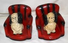 ROBIA WARE - Roman Art Co # 1471 - Art Deco Dog Red Chair Bookends - PAIR 1 good