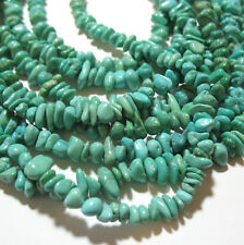 """Blue Turquoise 2-4mmx3-8mm Small Pebble Nugget Beads 16"""" Strand Natural Color"""