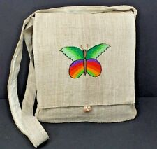 Hemp Purse Butterfly Embroidered Hippie Crossbody Shoulder Bag Eco Friendly