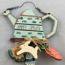 'Happy Spring' Wall Decor Sign Easter Bunny Carrot Watering Can Egg Sunflower