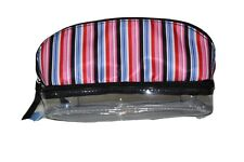 Nine To Nine double compartment organizer/makeup case multicolored stripe