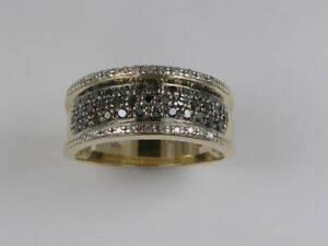 hcm81) Goldring Ring weiße und schwarze Diamanten W 19,25/ 60 Gold 585/-