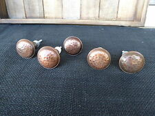 Antique Copper Round Hammered Metal Knob  Drawer Pull - Rustic Vintage Romantic