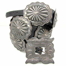 Old Pawn Navajo Signed Stamped Sterling Repousse Whirling Log Concho Belt | G
