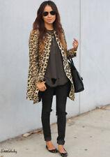US Winter Women Leopard Blazer Jacket Sweater Coat Long Sleeve Outwear Top Plus