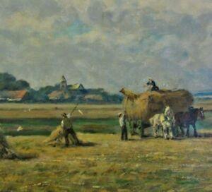 Adolf RHEINERT 1880-1958 tolles XL-Gemälde c 1930: ERNTE, BAUERN MIT PFERDEWAGEN