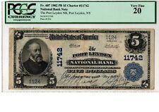 "1902 $5 National Banknote ""PB""  Port Leyden NB  NY Ch# 11742  PCGS 20  20-C711"