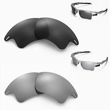 New Walleva Polarized Black + Titanium Lenses For Oakley Fast Jacket XL