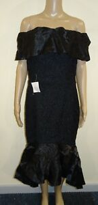 The 8th Sign Bardot Dress With Contrast Fishtail Detail Black UK 12 VR80 05